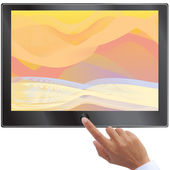 Hand turn on touch screen tablet or pc isolated on white — Stock Photo