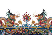 Glance of the Dragon on Thai temple roof isolate white backgroun — Stock Photo