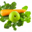 Fresh kaffir lime leaves ,carrot and green apple fruit  isolated — ストック写真