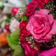Pink rose bouquet close up background — Stock Photo
