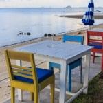 Outdoor beach restaurant at tropical resort. — Stock Photo #22037785