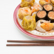 Steamed shrimp gyoza  and dimsum — Stock Photo