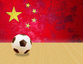 Soccer ball and China flag — Stock Photo