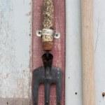 Harrow garden tool hang — Stock Photo