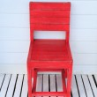 Vintage red wooden chair — Stock Photo
