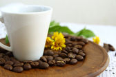 Coffee beans and white cup with daisy flower on wooden dish — Stock Photo