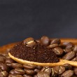 Coffee beans and ground coffee on wooden spoon with grunge backg — Stock Photo #31774353