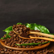 Coffee beans and ground coffee on wooden spoon with grunge backg — Stock Photo #31774515
