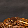 Coffee beans and ground coffee on wooden spoon with grunge backg — Stock Photo #32174149