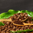 Coffee beans and coffe ground on wooden spoon — Stock Photo #32174275