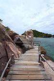Houten brug van tropische eiland koh nangyuan, thailand. — Stockfoto