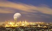 Stor måne över bangkok stadsbilden, flygfoto — Stockfoto