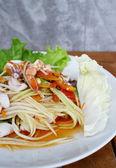 Som tum sea food — Stock Photo