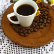 Espresso cup and coffee beans  — Stock Photo