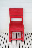 Red wooden retro chair — Stock Photo