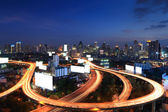 Bangkok city view skyscrapers at night — Stock Photo
