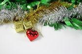 Adornos de Navidad decoración sobre fondo blanco de la frontera — Foto de Stock