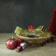 Red pine tree and Christmas ornaments — Stock Photo