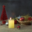 Candle light in the Christmas night — Stock Photo