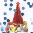 Red pine tree and Christmas ornaments decoration on white background — Stock Photo
