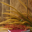 Stock Photo: Still life with Foxtail grass, and notebook on wooden background