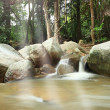 Stock Photo: Tropical forest waterfall in morning light ,Thailand