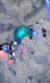 Blue bubble and christmas tree — Stockfoto