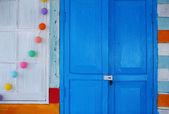 Blue wood door decor — Stock Photo