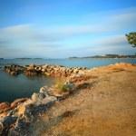 Landscape view of sea beach sky and rock bridge on Samui island, — Stock Photo #40447343