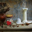 Still life with red heart,candle, seashell,dry roses and grunge — Stock Photo