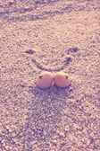 Happy lover eggs on beach — Stock Photo