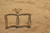 Book and light bulb drawn on sand — Stock Photo