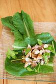 свинина специи и зеленый салат — Стоковое фото