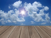 Wood floor with sky — Stock Photo