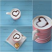 Red coffee cup with heart — Stock Photo