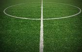 Soccer ball green grass field — Stockfoto