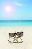 Chic sunglasses and starfish on white sand beach  — Stock Photo