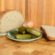 Stock Photo: Bread nd gherkin