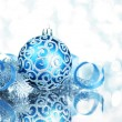 Blue Christmas decorations with bright lights - Stock Photo
