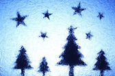 Christmas trees and stars — Stock Photo