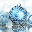 Blue Christmas decorations with bright lights — Stock Photo