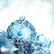 Blue Christmas decorations with bright lights - Foto Stock