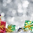 Silver Christmas background with presents — Photo