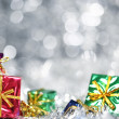 Silver Christmas background with presents — Foto de Stock