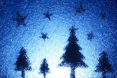 Julgranar och stjärnor — Stockfoto