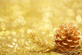 Zlaté vánoční pozadí — Stock fotografie