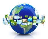 Earth with images — Stock Photo