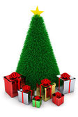 Shiny presents & Christmas tree — Stock Photo