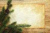 Blank paper with Christmas decorations — Stock Photo
