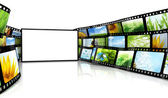 Filmstrip with blank TV — Stock Photo